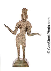 Traditional antique bronze statue of Lakshmi Hindu Goddess of wealth prosperity and fortune.