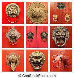 traditional  antique chinese  door knockers on red door collecti