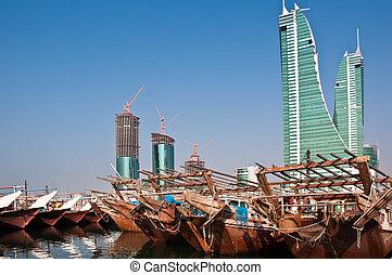 Traditonal Arab Dhows moored at Manama, Bahrain.