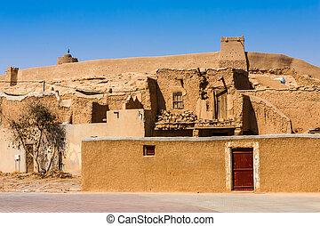 Traditional Arab mud brick houses in Al Majmaah, Saudi Arabia