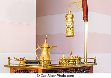 Traditional arabic coffee set on antique table