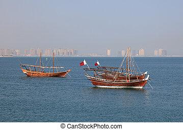 Traditional arabic dhow in Doha, Qatar