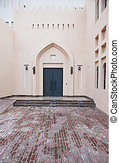 Traditional Arabic entry door in Doha, Qatar