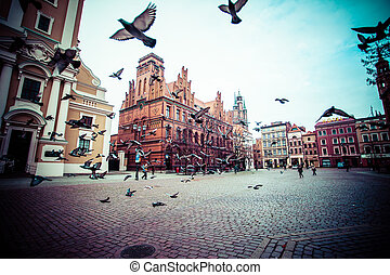 Traditional architecture in famous polish city, Torun, ...