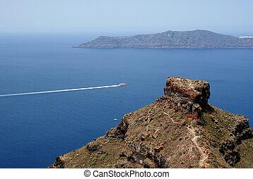 Traditional architecture of Oia village on Santorini island,...
