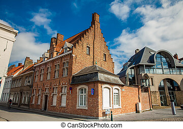 Traditional architecture of the historical Bruges town center