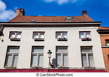 Traditional architecture of the historical Bruges town