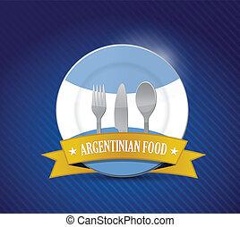 Traditional Argentinian restaurant , menu illustration design over blue