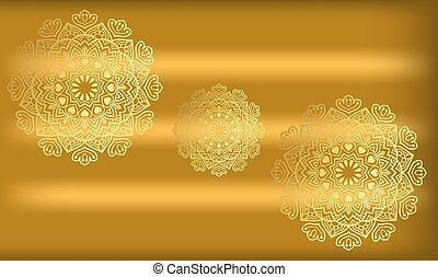 traditional art on gold background in circle