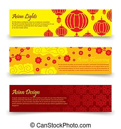 Traditional asian banners template. Vector chinese, japanese...