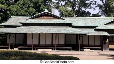 Traditional Asian building in park