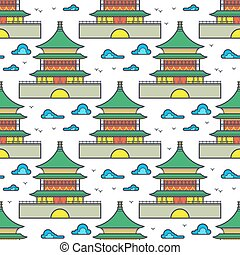 Traditional asian chinese house seamless pattern