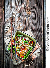 Traditional asian dish with vegetables and noodles