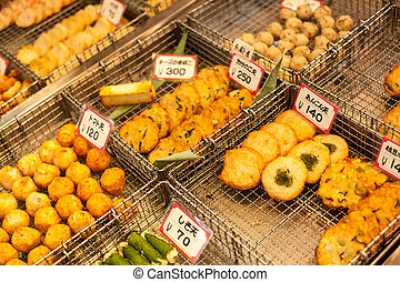 Traditional asian food market, Japan.