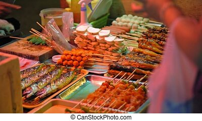 traditional Asian food, street food market. - traditional...