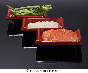 traditional asian ingredients for sushi