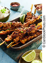 Traditional Asian satay skewers with spicy meat