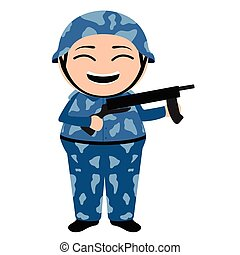 Traditional asian soldier cartoon character
