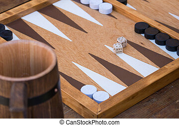 Traditional backgammon game