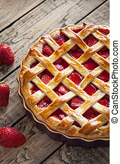 Traditional baked strawberry pie cake sweet pastry food
