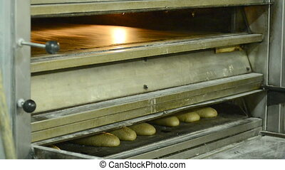 traditional bakery bakes bread from wheat flour and dough