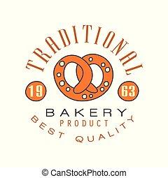 Traditional bakery product, best quality logo template, estd 1963, bread shop badge retro food label design vector Illustration