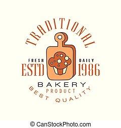 Traditional bakery product, best quality logo template, estd 1986, bread shop badge retro food label design vector Illustration