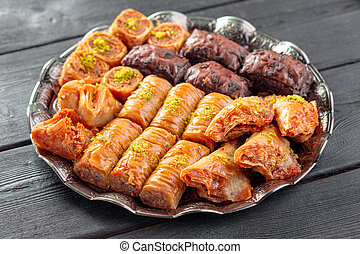 Traditional Baklava on Wooden Table. creative photo. - ...