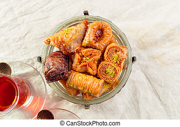 Traditional Baklava on Wooden Table. creative photo - ...