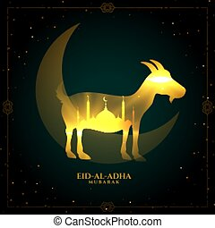 traditional bakrid festival golden shiny card design