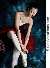 traditional ballet - Beautiful bellet dancer posing at...