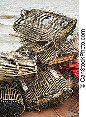 bamboo crab cages at kep market cambodia