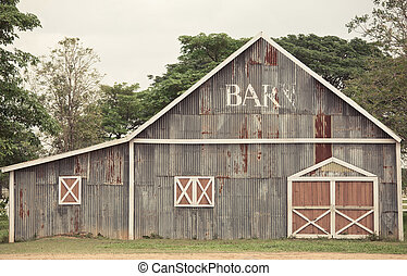 Traditional barn - Traditional abandoned weathered barn on a...