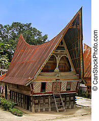 Traditional Batak house on Samosir island, Sumatra,...