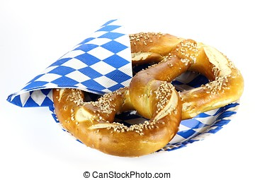 pretzel - traditional Bavarian Oktoberfest pretzel isolated...