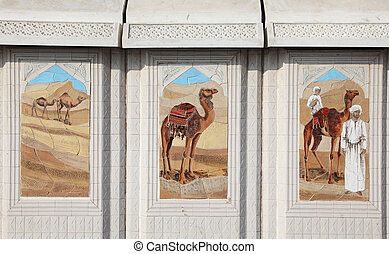 Traditional bedouin life scenes mosaic in Doha, Qatar