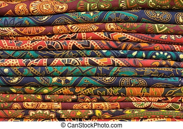 Traditional block printed fabrics on display at a local...