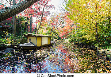 Traditional Boat in Japanese garden