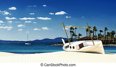 traditional boat in the balearic islands - 3d illustration...
