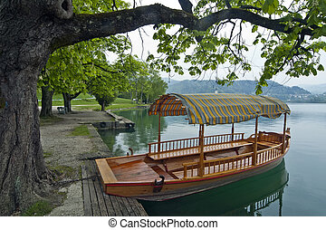 Traditional boat on Bled lake in Slovenia