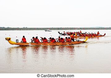Traditional boat race in Vietnam