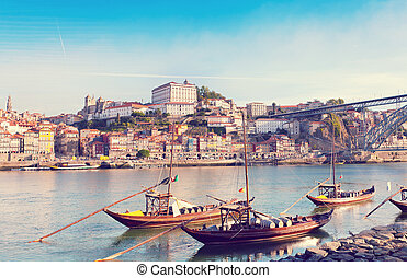 traditional boats with wine barrels, old Porto, Portugal...