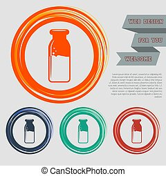 traditional bottle of milk icon on the red, blue, green, orange buttons for your website and design with space text. Vector