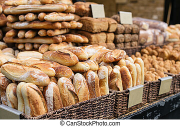 Traditional bread and baguettes in the Jerusalem market, Israel.