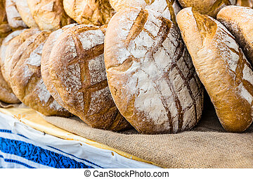 Traditional bread in polish market.