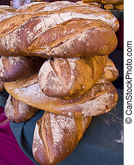 Traditional bread of Catalonia in the market of Vic, Catalonia, Spain