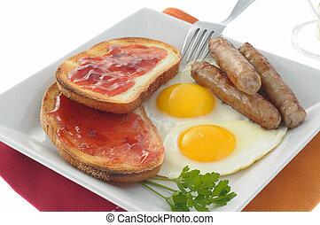 Traditional Breakfast - Traditional breakfast of eggs, ...