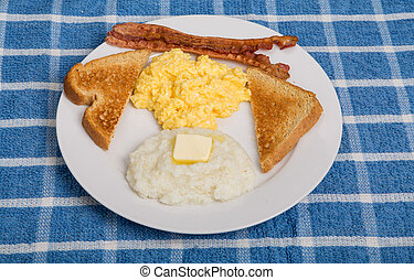 Traditional Breakfast with Grits - A traditional breakfast ...