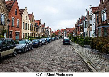 Traditional brick houses in Bruges, Belgium