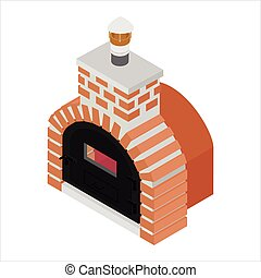 Traditional brick oven for cooking and baking pizza